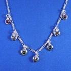 Bedelcollier zilver 7 verschillende hartjes, 38cm