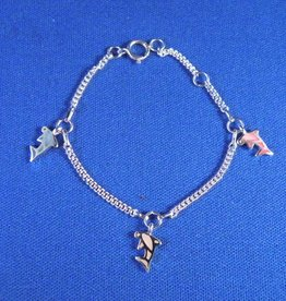 "Bedelarmbandje zilver ""dolfijntjes"" 11-13cm"