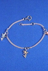 "Bedelarmbandje zilver ""dolfijntjes"" 13-15cm"
