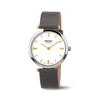 Boccia Boccia Titanium 3253.03 horloge - Leer - Grijs - 30 mm