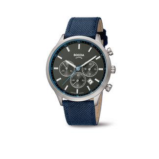 Boccia Boccia Titanium 3750.02 horloge - Leer - Blauw - 41 mm