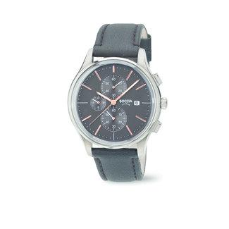 Boccia Boccia Titanium 3756.02 horloge - Leer - Zwart - 41 mm