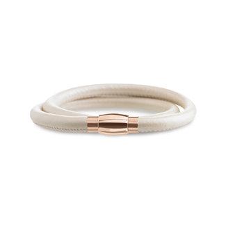 Boccia Boccia Titanium 0395-02 armband - Leer - Wit