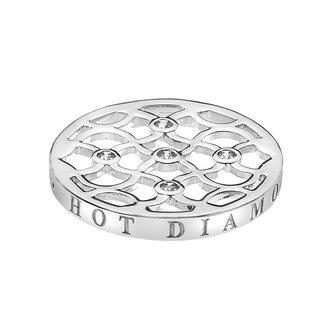 Emozioni Zilveren coin met open patroon en zirkonia 25mm