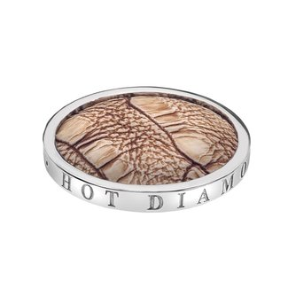Emozioni Zilveren coin met bruin krokodillenprint 25mm