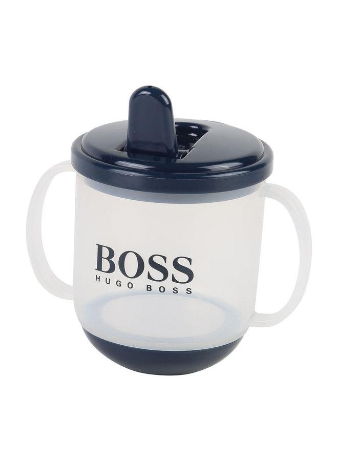 Hugo Boss Designer Baby Trinkbecher / Schnabeltasse mit Logo in blau BPA frei auch ein tolles Geschenk