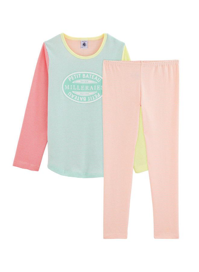 Petit Bateau Pyjama bunt mit Streifen in gelb grün orange und Markenstempel