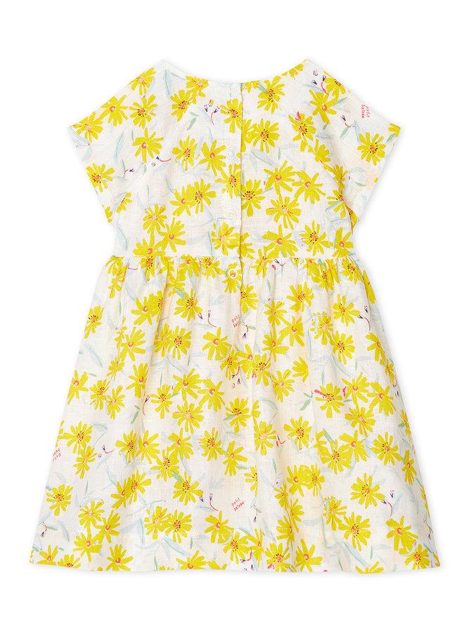 Petit Bateau Leinenkleid gelb Blumen