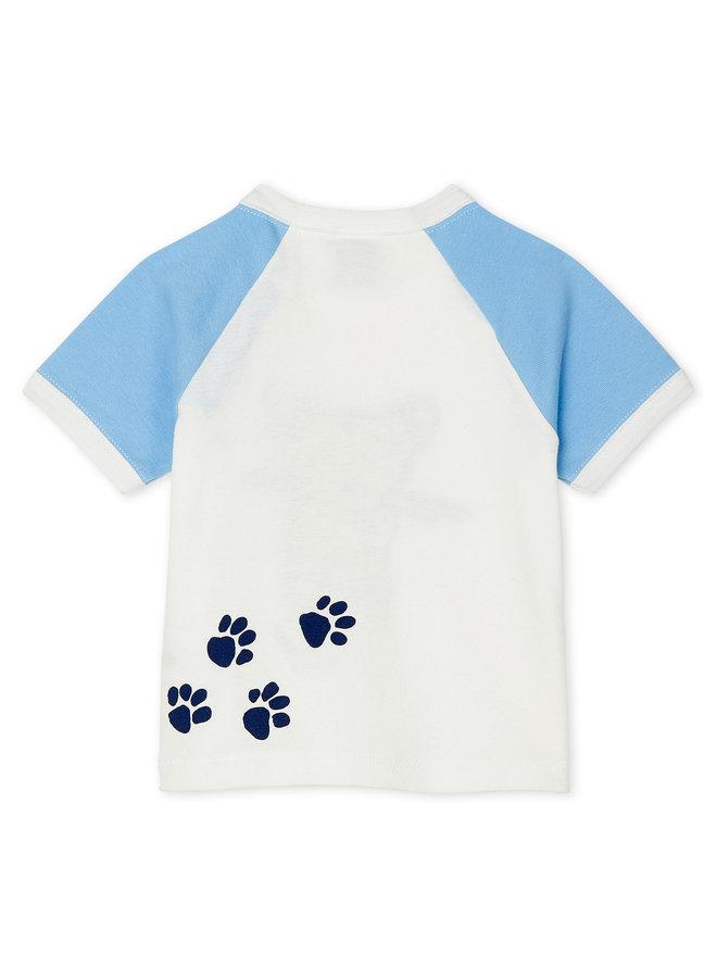 Betit Bateau T-Shirt creme mit großem Leoparden Print