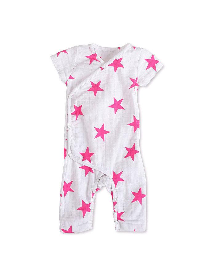 aden + anais Kimono short sleeve pink weiß
