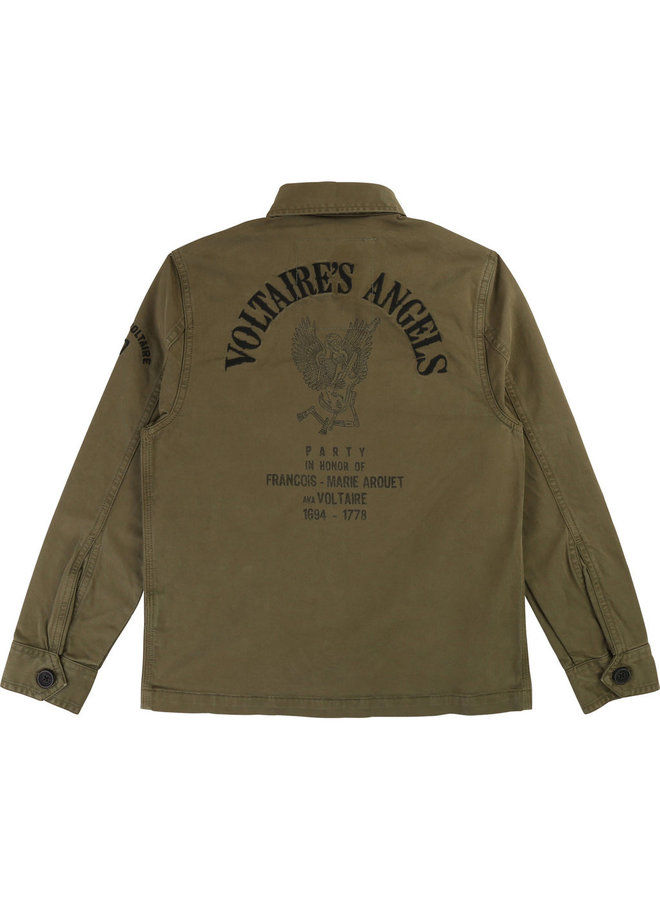 Zadig & Voltaire Hemd khaki / oliv mit coolem Rückenprint