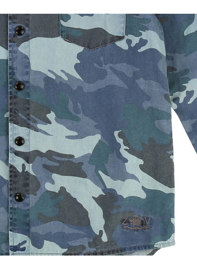 Zadig & Voltaire Hemd mit Camouflage blau