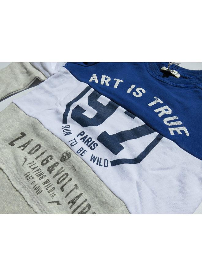 Zadig & Voltaire Sweatshirt ART IS TRUE blau / grau Blockstreifen