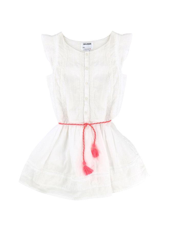 Zadig & Voltaire Kleid  weiß mit Gürtel