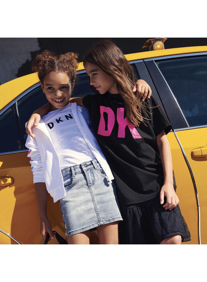 DKNY KIDS Hoodie weiß mit Logo und Farbverlauf