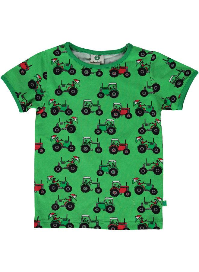 SMAFOLK T-Shirt mit  alloverTraktor grün