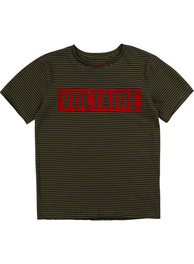 Zadig & Voltaire T-Shirt khaki schwarz gestreift