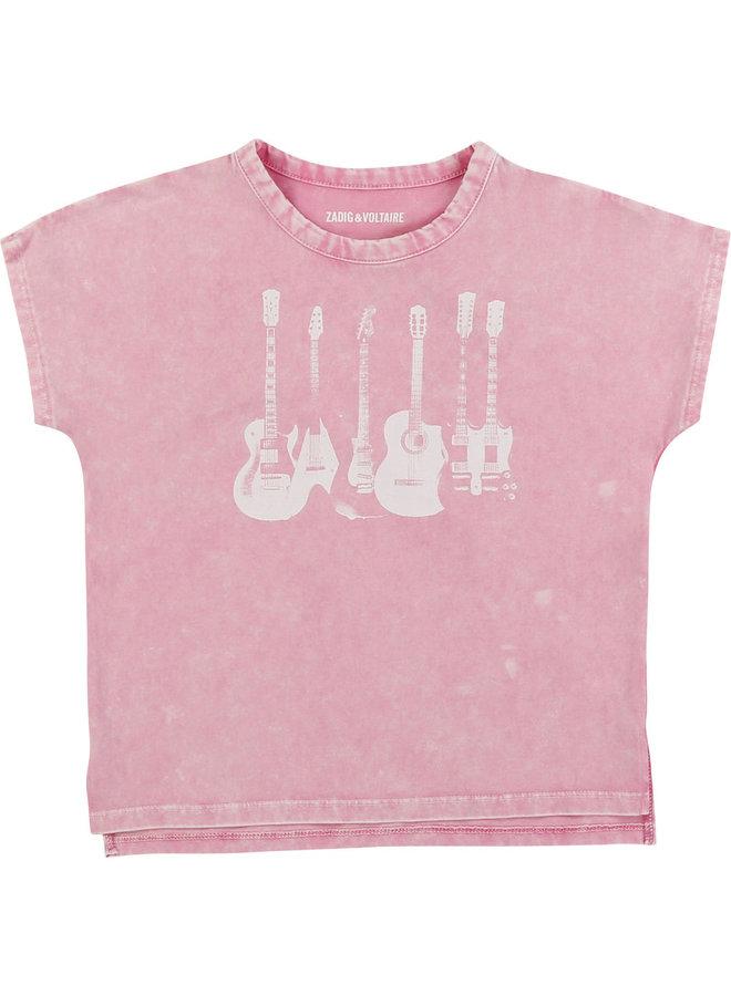 Zadig & Voltaire T-Shirt Gitarren rosa