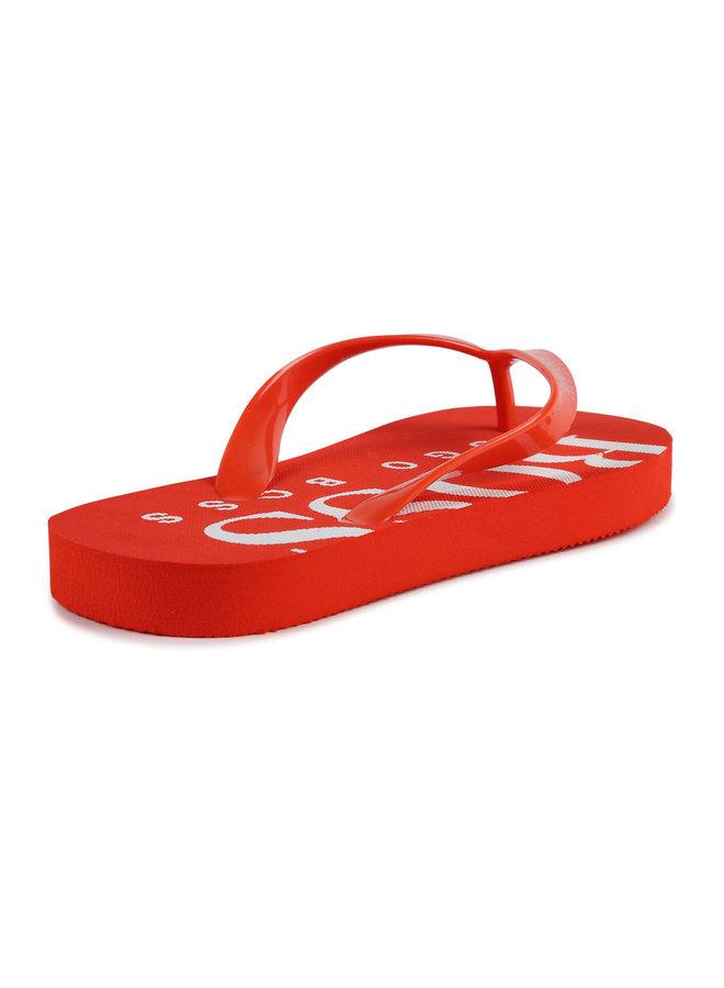 BOSS Zehentrenner Sandalen rot mit Logo