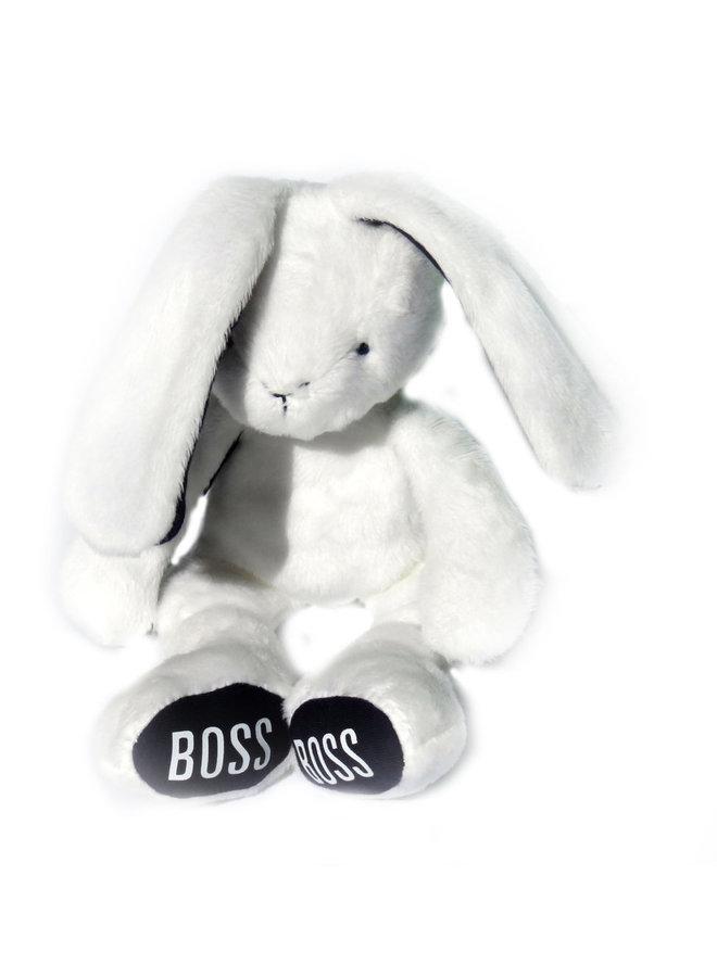 Hugo Boss Kuscheltier Hase weiß mit Logoprint