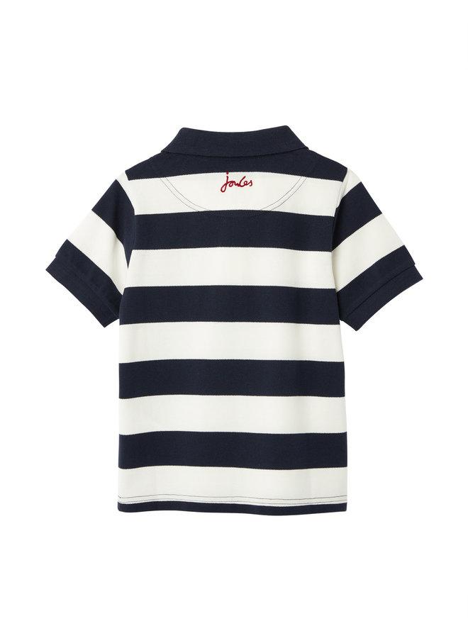 TOM JOULE Poloshirt blau weiß Blockstreifen