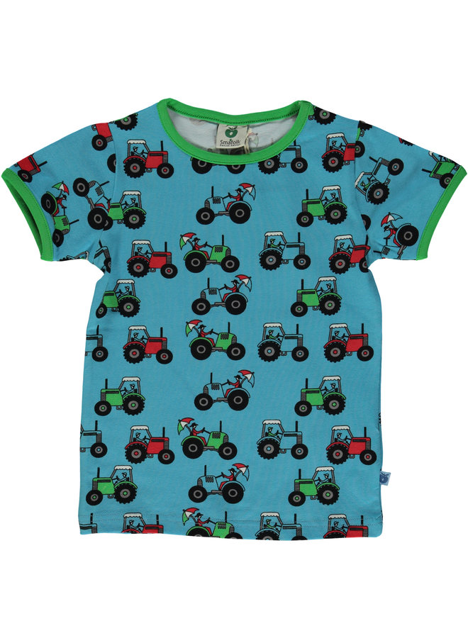 SMAFOLK T-Shirt allover Traktor  blau