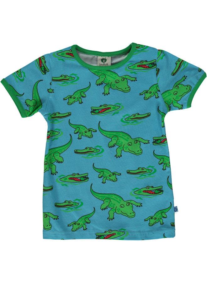 SMAFOLK T-Shirt mit  allover Krokodil blau