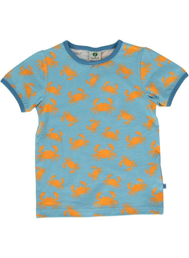 SMAFOLK T-Shirt mit  allover Krabbe blau