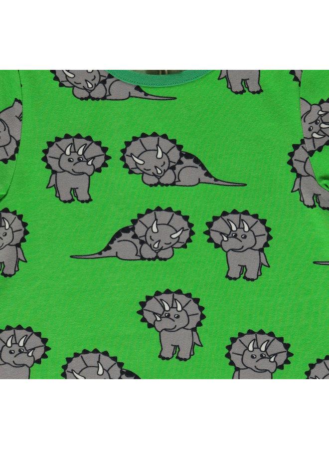 SMAFOLK T-Shirt mit  allover Dino grün