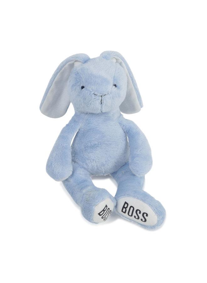Hugo Boss Kuscheltier Hase hellblau mit Logoprint