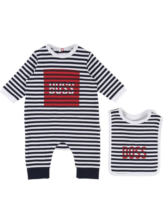 BOSS Baby Set Strampler mit Lätzchen marine rot