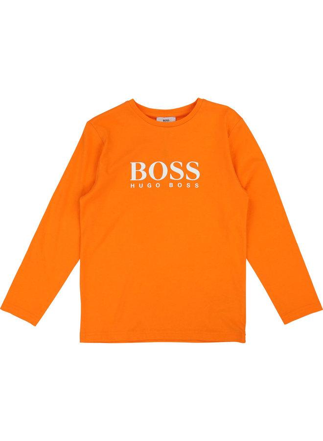 HUGO BOSS Kids Langarmshirt orange mit weißem Logo