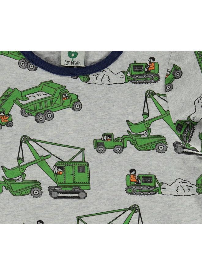 SMAFOLK T-Shirt mit  allover Baumaschinen grau