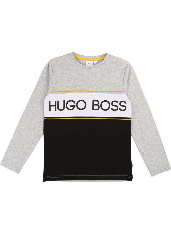 HUGO BOSS Kinder Longsleeve grau gelb Logo