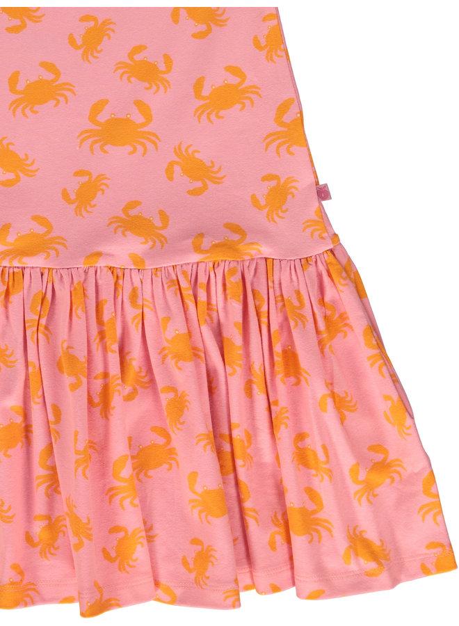 SMAFOLK Kleid rosa orange mit allover Krabbenprint aus Biobaumwolle
