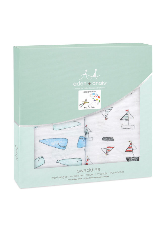 aden + anais Pucktücher whales & boards 2 er pack swaddle