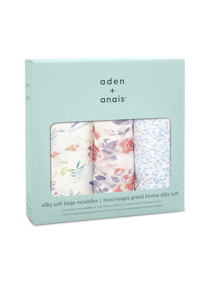 aden + anais 3-pack silky soft swaddles watercolour garden