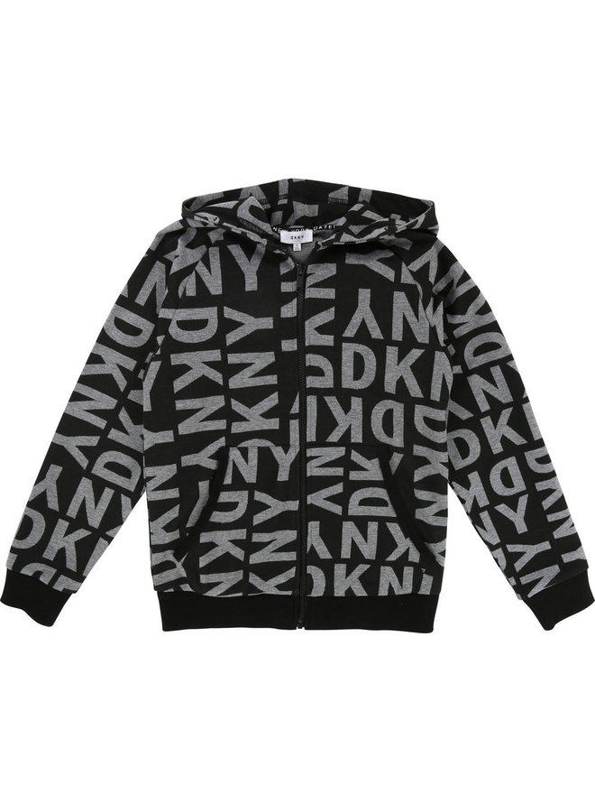 DKNY KIDS Hoodie schwarz allover Logoprint