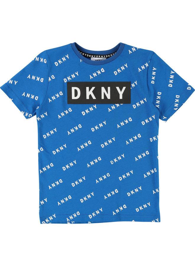 DKNY KIDS T-Shirt blau allover Logoprint