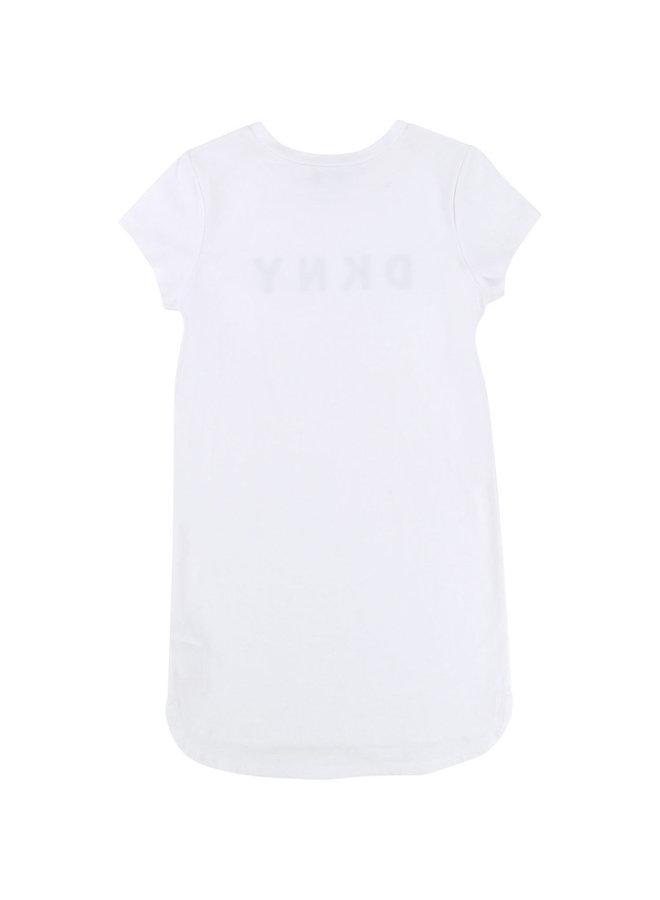DKNY KIDS Shirt Kleid weiß mit Logoprint