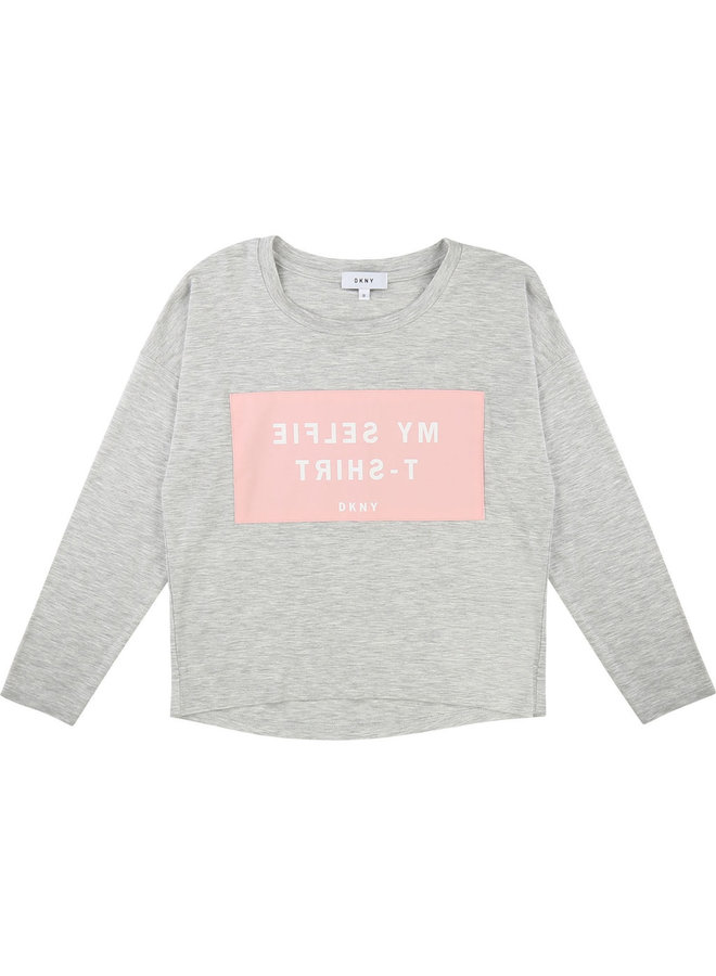 DKNY KIDS Langarmshirt grau rosa Selfie