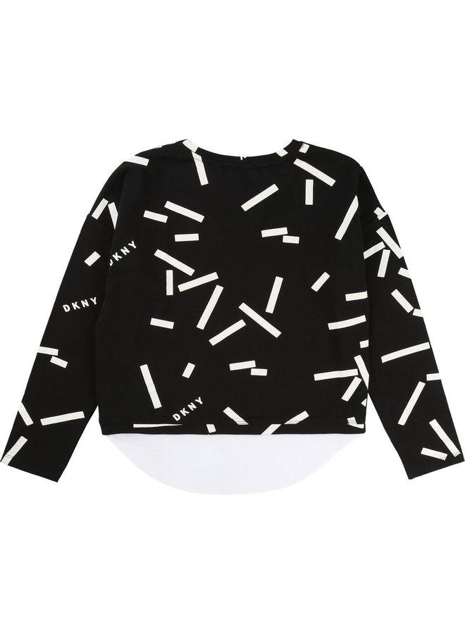 DKNY KIDS  Langarmshirt Lagenlook schwarz mit Hemdsaum