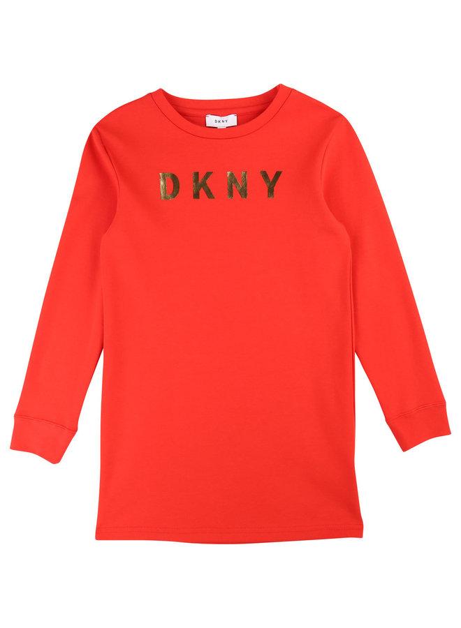 DKNY KIDS Kleid rot langarm mit Logo