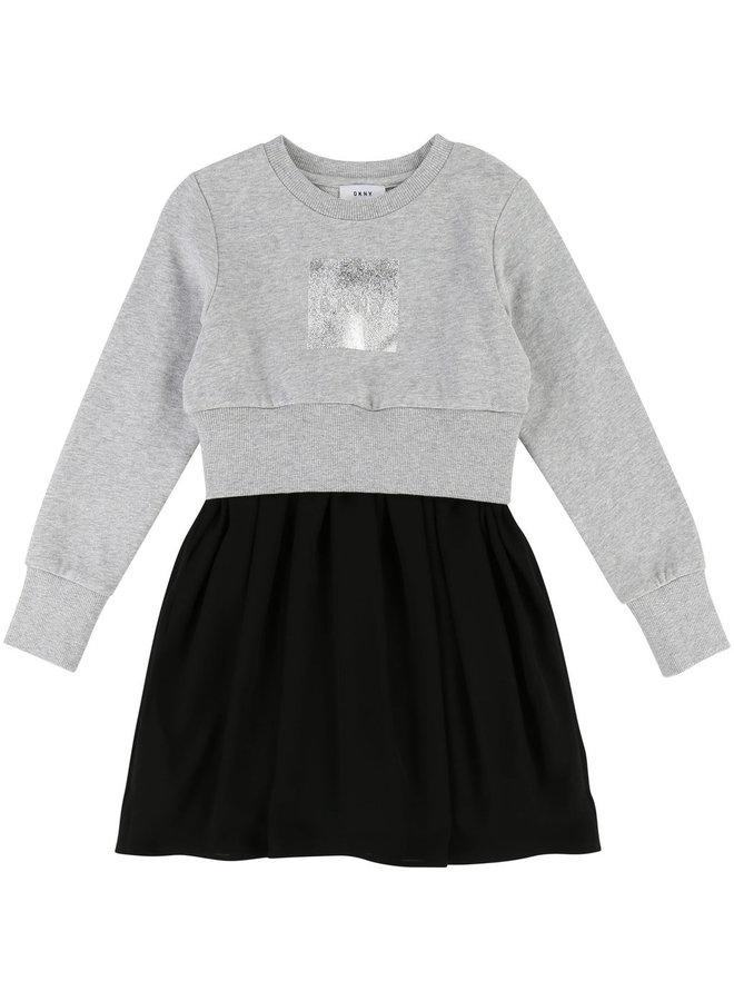 DKNY KIDS Stilmix Kleid mit silbernem Logo Print