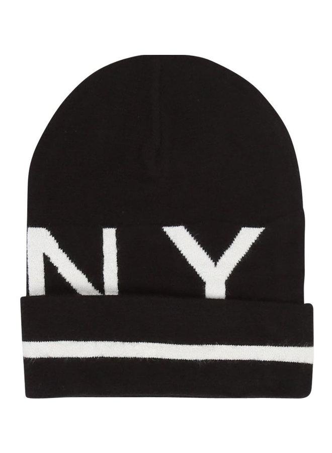 DKNY KIDS Intarsien Mütze schwarz mit Logo