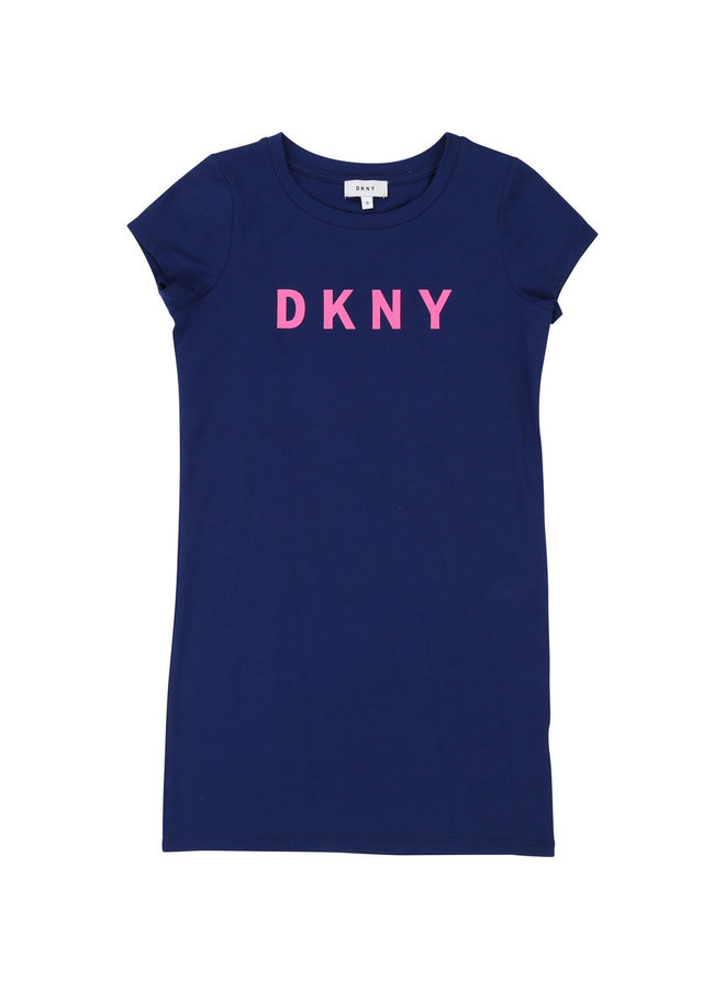 DKNY KIDS Shirt Kleid blau mit Logo