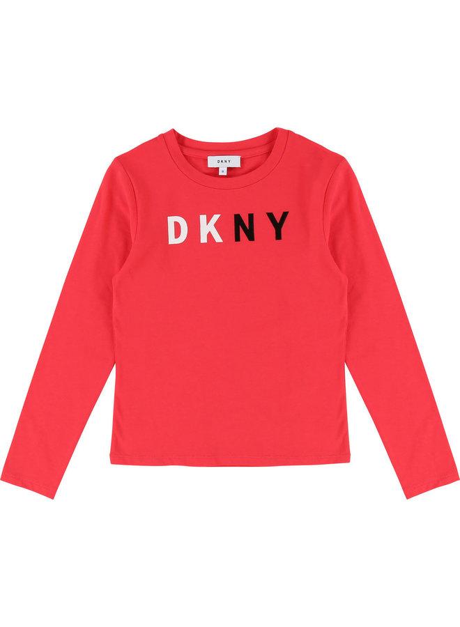 DKNY KIDS Langarmshirt pink mit Logo