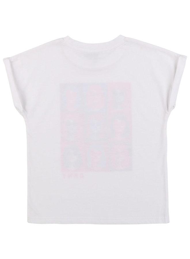 DKNY KIDS T-Shirt weiß pink mit Print