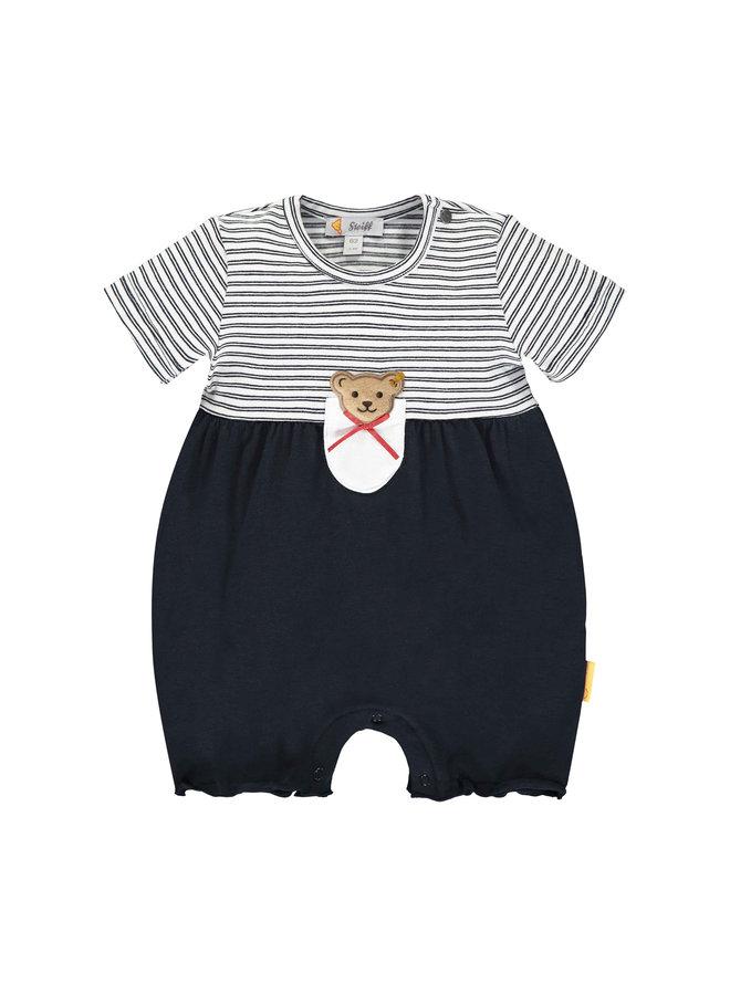 Steiff Baby Spieler blau weiß Streifen und Teddypatch