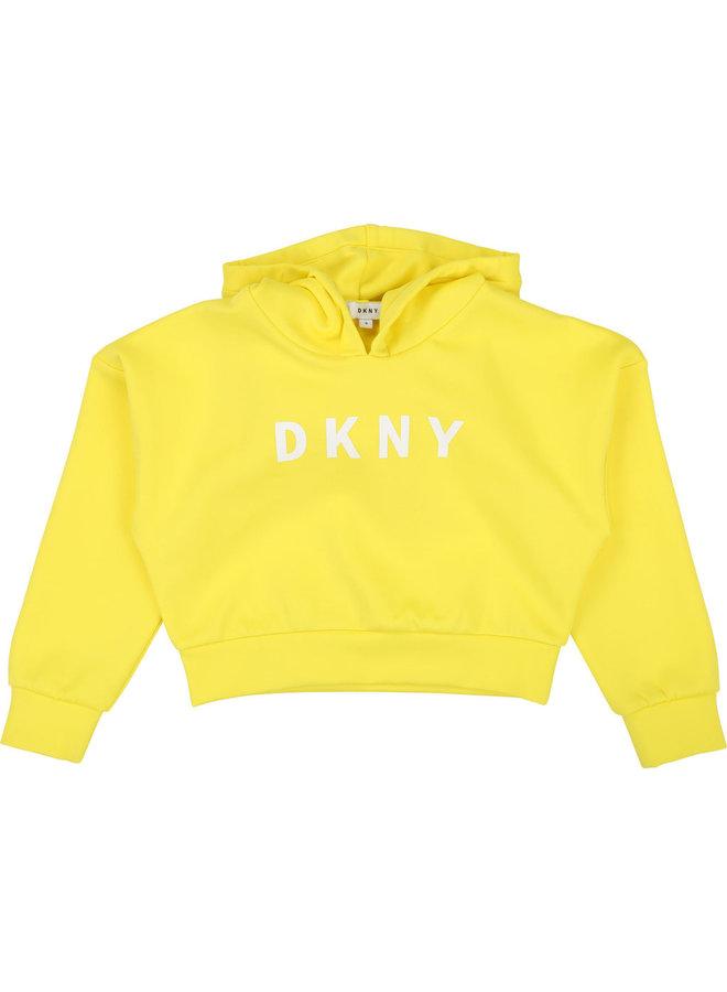 DKNY KIDS Hoodie gelb mit Logo